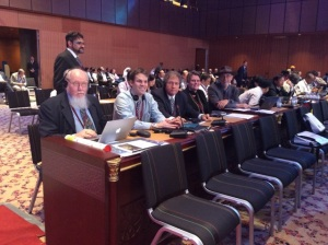 Australian environment delegation at the World Heritage Committee meeting in Doha, Qatar, June 15 - 25. Director of ARCS International World Heritage Committee is third from the left.